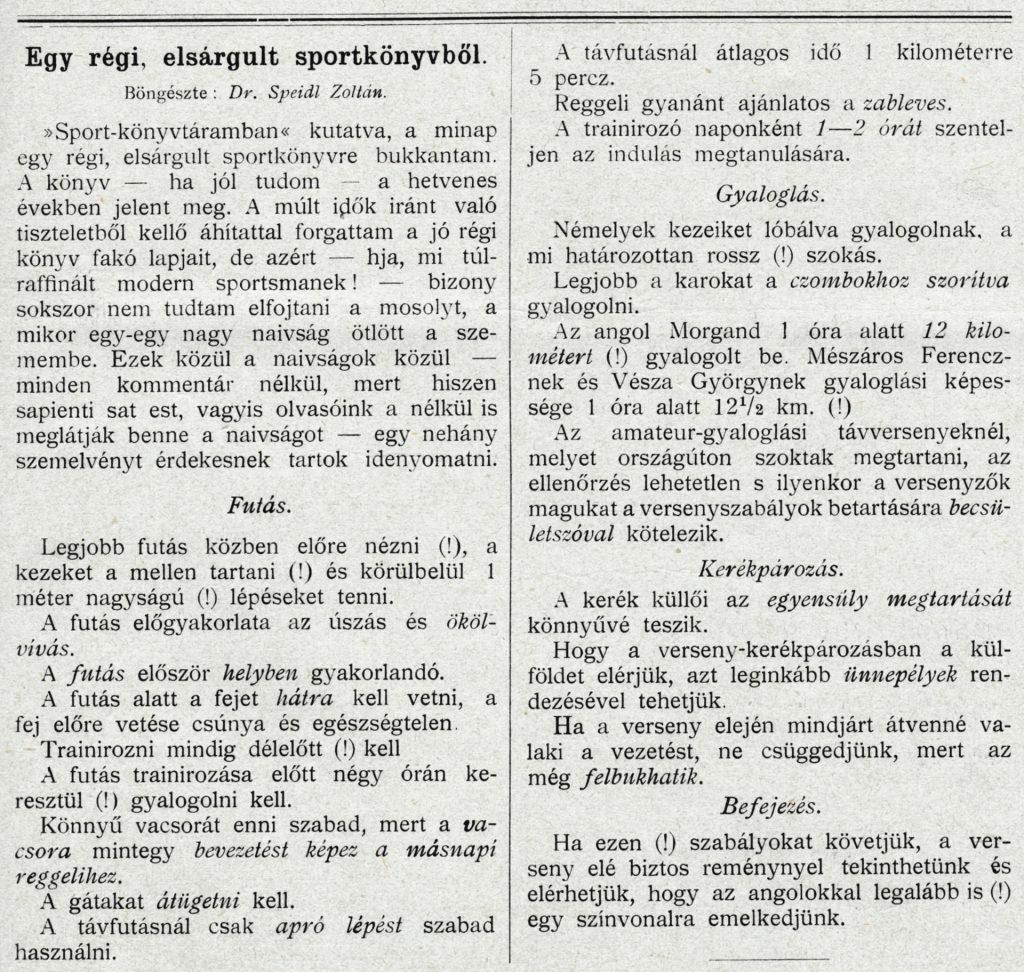 Speidl Zoltán humoros írása a Sport-Világban